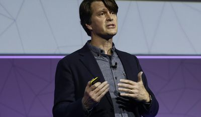 Niantic founder and CEO, and creator of Pokemon Go, John Hanke speaks during a keynote at the Mobile World Congress in Barcelona, Spain, Tuesday, Feb. 28, 2017. The Mobile World Congress will be held 27 Feb. to 2 March. (AP Photo/Manu Fernandez)