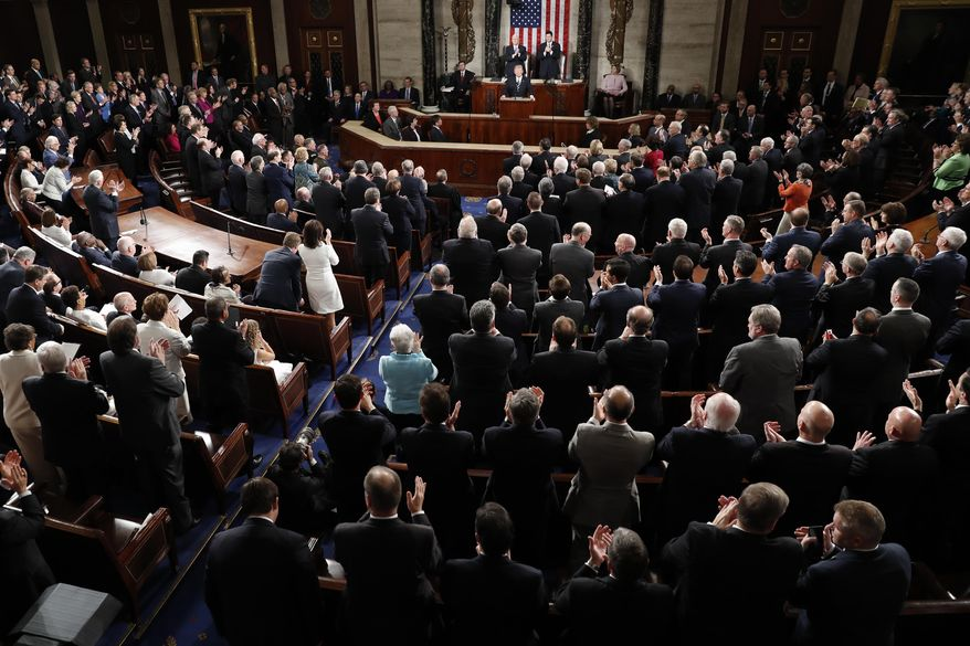 President Donald Trump is applauded as he addresses a joint session of Congress on Capitol Hill in Washington, Tuesday, Feb. 28, 2017. (AP Photo/Pablo Martinez Monsivais)