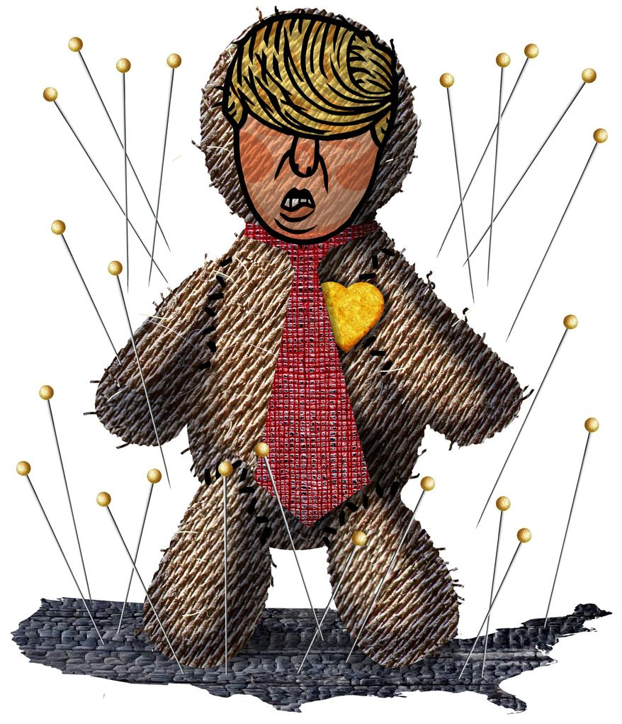 Illustration on President Trump as the focus of anger by Alexander Hunter/The Washington Times