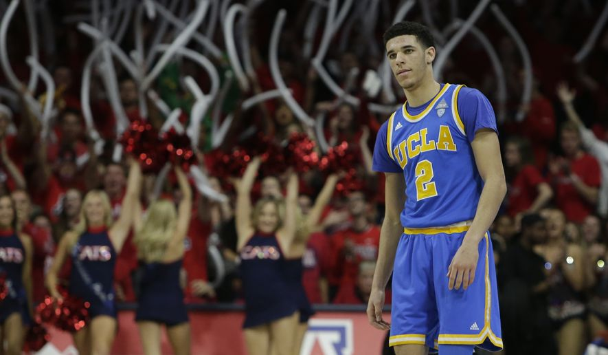 UCLA guard Lonzo Ball (2) during the first half of an NCAA college basketball game against Arizona, Saturday, Feb. 25, 2017, in Tucson, Ariz. (AP Photo/Rick Scuteri)