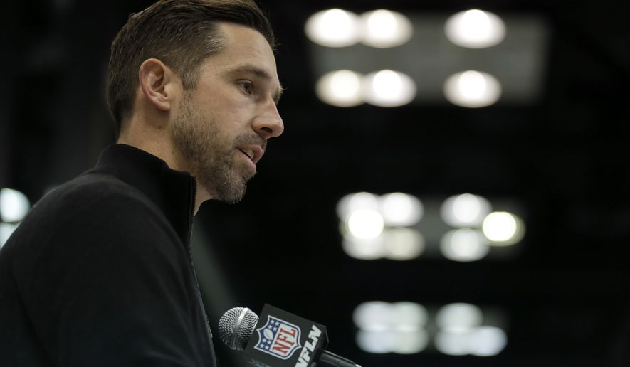 San Francisco 49ers head coach Kyle Shanahan speaks during a press conference at the NFL Combine in Indianapolis, Wednesday, March 1, 2017. (AP Photo/Michael Conroy)