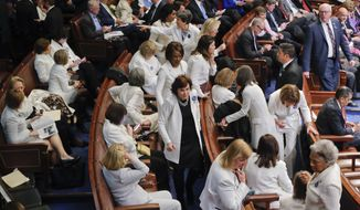 House Democratic Congresswomen, wearing white, take their seats on Capitol Hill in Washington, Tuesday, Feb. 28, 2017, before President Donald Trump's speech to a joint session of Congress. (AP Photo/Pablo Martinez Monsivais)