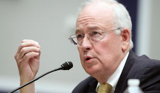 In this May 8, 2014, file photo, Baylor University President Ken Starr testifies at the House Committee on Education and Workforce on college athletes forming unions. (AP Photo/Lauren Victoria Burke, File)