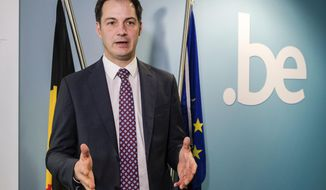 Belgian Vice Prime Minister Alexander De Croo talks during an interview with the Associated Press in Brussel, Wednesday, March 1, 2017. Organizers say some 50 countries signed up at short notice to attend Thursday's global family planning conference specifically called to see how nations can make up for a funding gap of about half a billion dollars left by President Donald Trump's ban on U.S. funding to organizations linked to legal abortion. (AP Photo/Geert Vanden Wijngaert)