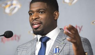 Nashville Predators defenseman P.K. Subban speaks to the media at an NHL hockey news conference Wednesday, March 1, 2017 in Montreal. The former Montreal Canadiens defenseman will play his first game  in Montreal against his old team on Thursday. (Ryan Remiorz/The Canadian Press via AP)