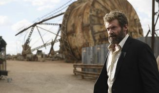 "This image released by Twentieth Century Fox shows Hugh Jackman in a scene from ""Logan."" (Ben Rothstein/Twentieth Century Fox via AP)"