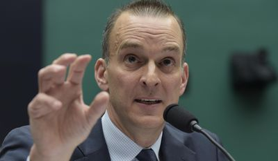 Travis Tygart, the chief executive officer of the U.S. Anti-Doping Agency, testifies on Capitol Hill in Washington, Tuesday, Feb. 28, 2017, before the House Commerce Energy and Commerce subcommittee hearing on the international anti-doping system. (AP Photo/Susan Walsh)