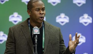 Denver Broncos head coach Vance Joseph speaks during a press conference at the NFL Combine in Indianapolis, Wednesday, March 1, 2017. (AP Photo/Michael Conroy)
