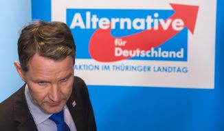 Bjoern Hoecke, chairman of the right-wing AfD party, described Berlin's Holocaust Memorial as an embarrassment to Germans. (Associated Press)