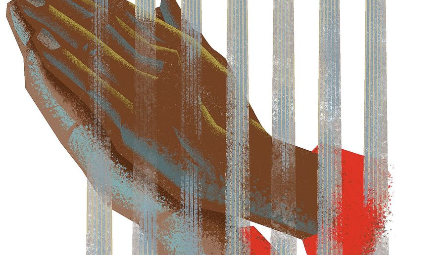 Illustration on the Christian duty toward refugees by Linas Garsys/The Washington Times