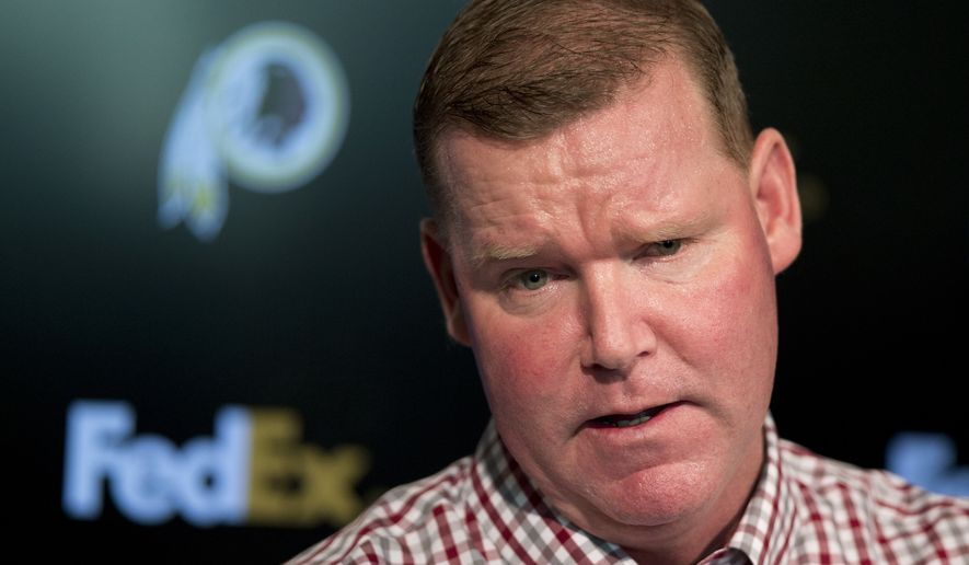 "FILE - In this April 25, 2016, file photo, Washington Redskins' general manager Scot McCloughan speaks during a news conference at Redskins Park in Ashburn, Va. McCloughan is not attending the NFL combine in Indianapolis. Team spokesman Tony Wyllie confirmed McCloughan's absence in an email to The Associated Press Thursday, March 2, 2017, saying McCloughan ""is taking care of some family matters."" (AP Photo/Manuel Balce Ceneta, File)"