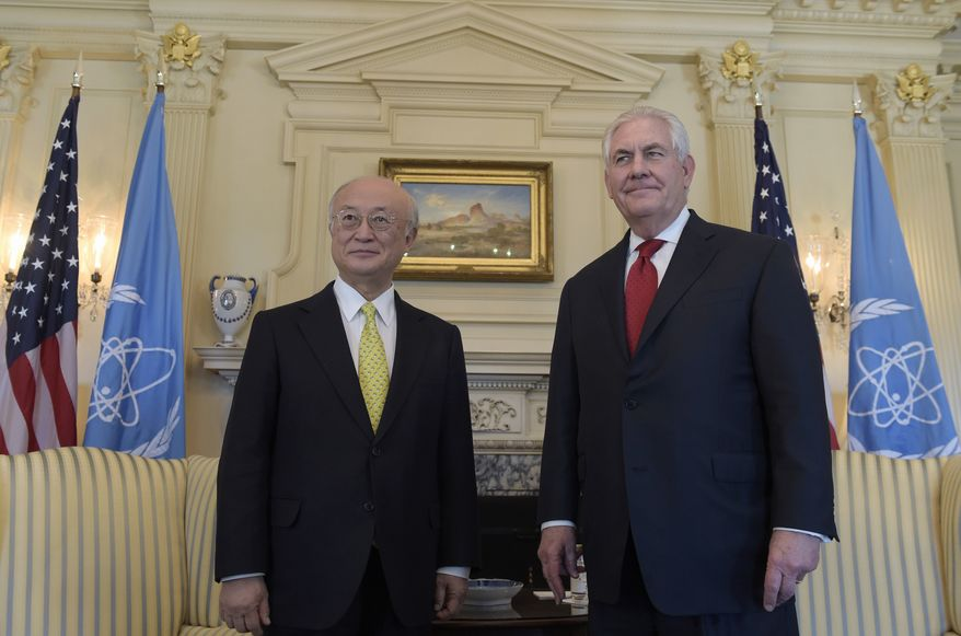 Secretary of State Rex Tillerson stands with International Atomic Energy Agency Director General Yukiya Amano, at the State Department in Washington, Thursday, March 2, 2017, (AP Photo/Susan Walsh)