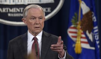 Attorney General Jeff Sessions speaks during a news conference at the Justice Department in Washington, Thursday, March 2, 2017. Sessions said he will recuse himself from a federal investigation into Russian interference in the 2016 White House election. (AP Photo/Susan Walsh)