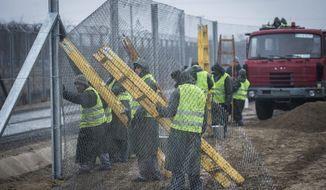 Convicts build the fence of the second defence line behind the first protective fence on the border between Hungary and Serbia near Kelebia, 178 kms southeast of Budapest, Hungary, Wednesday, March 1, 2017. The Hungarian government decided to construct a second fence along the border with Serbia to prevent migrants' illegal entry into Hungary last Thursday, Febr. 23. (Sandor Ujvari/MTI via AP)