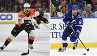 FILE - At left, in a Feb. 4, 2017, file photo, Philadelphia Flyers' Mark Streit plays during an NHL game against Tampa, in Tampa, Fla. At right, in a Feb. 23, 2016, file photo, Tampa Bay Lightning's Valtteri Filppula, of Finland, looks to pass against the Arizona Coyotes during the second period of an NHL hockey game in Tampa, Fla. The Tampa Bay Lightning acquired defenseman Mark Streit from the Philadelphia Flyers for center Valtteri Filppula and two draft picks. Philadelphia receives a 2017 fourth-round pick and conditional seventh-round pick in the trade. The teams announced the deal Wednesday afternoon, March 1, 2017,  shortly before the trade deadline. (AP Photo/File)