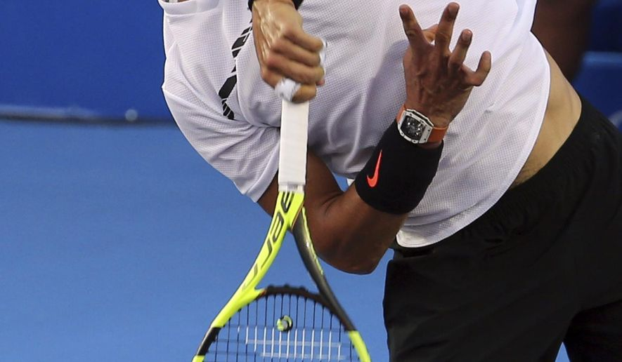 Spain's Rafael Nadal serves to Japan's Yoshihito Nishioka during a quarterfinal match at the Mexican Tennis Open in Acapulco, Mexico, Thursday, March 2, 2017. (AP Photo/Enric Marti)