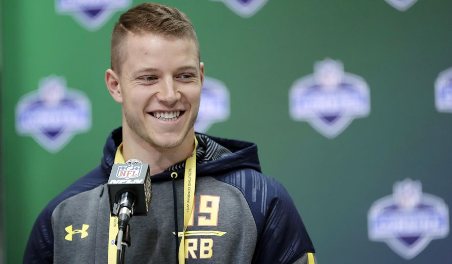 Stanford running back Christian McCaffrey speaks during a news conference at the NFL football scouting combine Thursday, March 2, 2017, in Indianapolis. (AP Photo/David J. Phillip)