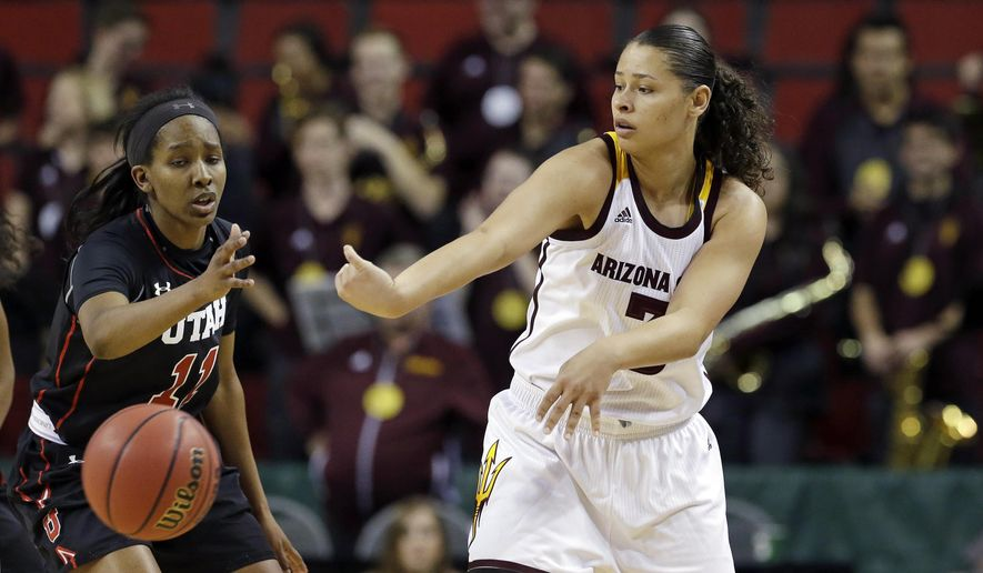 Arizona State's Sabrina Haines, right, passes past Utah's Erika Bean during the second half of an NCAA college basketball game in the Pac-12 tournament, Thursday, March 2, 2017, in Seattle. Arizona State won 72-54. (AP Photo/Elaine Thompson)