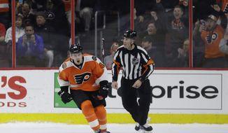 Philadelphia Flyers' Jordan Weal (40) reacts after scoring a goal against Florida Panthers' James Reimer during the shootout in an NHL hockey game, Thursday, March 2, 2017, in Philadelphia. Philadelphia won 2-1. (AP Photo/Matt Slocum)