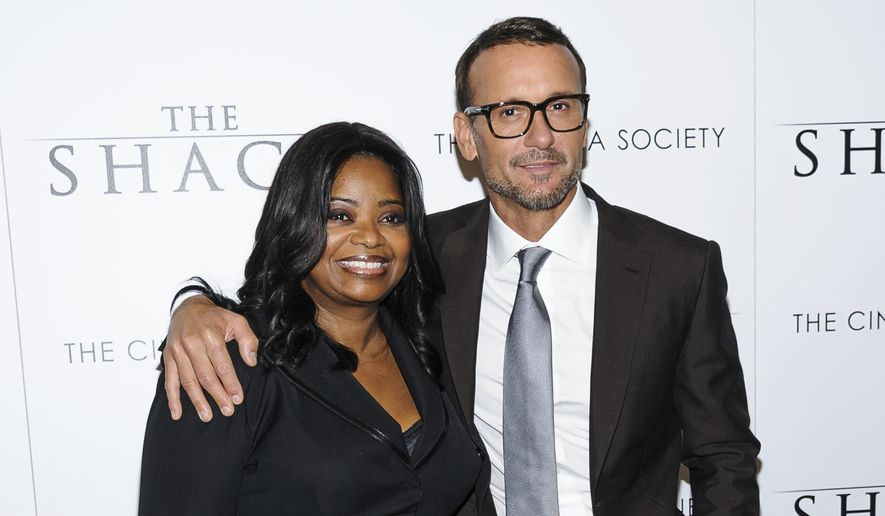 "Octavia Spencer, left, and Tim McGraw attend the world premiere of ""The Shack,"" hosted by The Cinema Society, at the Museum of Modern Art on Tuesday, Feb. 28, 2017, in New York. (Photo by Christopher Smith/Invision/AP)"