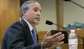 FILE - In this July 29, 2015 file photo, Texas Attorney General Ken Paxton speaks during a hearing in Austin, Texas. A federal judge on Thursday, March 2, 2017, dismissed the U.S. government's securities fraud lawsuit against Paxton, though the Republican still faces criminal charges of duping wealthy investors.  (AP Photo/Eric Gay, File)