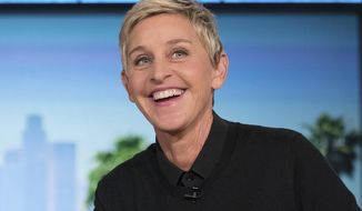 "FILE - In this Oct. 13, 2016 file photo, Ellen Degeneres appears during a commercial break at a taping of ""The Ellen Show"" in Burbank. NBC said Thursday, March 2, 2017, that it has ordered six episodes of an hour-long show hosted and produced by DeGeneres. It will feature ""supersized"" versions of games played on her daytime talk show. (AP Photo/Andrew Harnik, File)"