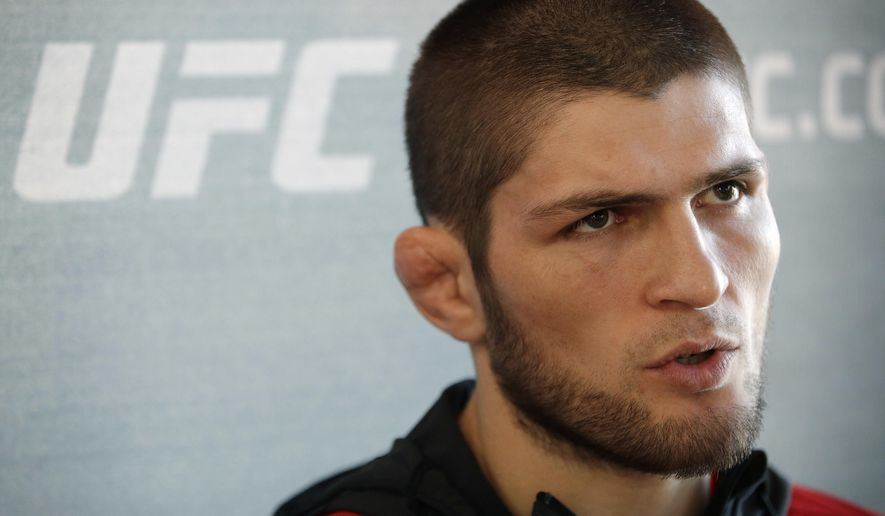 Khabib Nurmagomedov, of Russia, speaks with the media during a news conference for UFC 209, Thursday, March 2, 2017, in Las Vegas. Nurmagomedov is scheduled to battle Tony Ferguson in a mixed martial arts lightweight fight Saturday in Las Vegas. (AP Photo/John Locher)