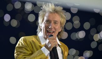 FILE - A Saturday, Nov. 28, 2015, file photo, from files of singer Rod Stewart performing in the Esprit Arena in Duesseldorf, western Germany. Stewart apologized on March 3, 2017, for a video shared by his wife that shows the singer in what appears to be a re-enactment of a beheading. (AP Photo/Martin Meissner, File)