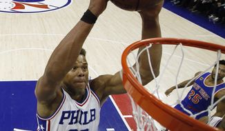 Philadelphia 76ers' Justin Anderson goes up to dunk during the first half of an NBA basketball game against the New York Knicks, Friday, March 3, 2017, in Philadelphia. (AP Photo/Matt Slocum)