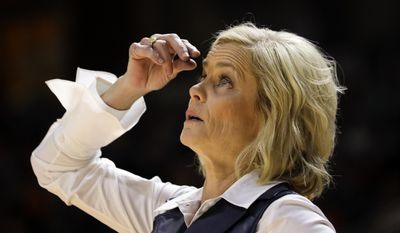 "FILE - In this Dec. 4, 2016, file photo, Baylor head coach Kim Mulkey looks at the scoreboard in the first half of an NCAA college basketball game against Tennessee, in Knoxville, Tenn. Mulkey has made a tearful apology for her recent remarks about the school's sexual assault scandal. In defending the school against critics last weekend, Mulkey said Baylor fans should ""knock them right in the face"" and said it's time to ""move on"" from the scandal. After those comments caused a storm of controversy, the two-time national championship coach said Thursday, March 2, 2017,  she is ""sorry for the choice of words."" (AP Photo/Mark Humphrey, File)"