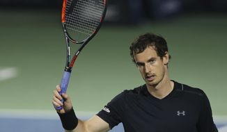Andy Murray of Great Britain celebrates after he beats Lucas Pouille of France during a semi final match of the Dubai Tennis Championships, in Dubai, United Arab Emirates, Friday, March 3, 2017. (AP Photo/Kamran Jebreili)