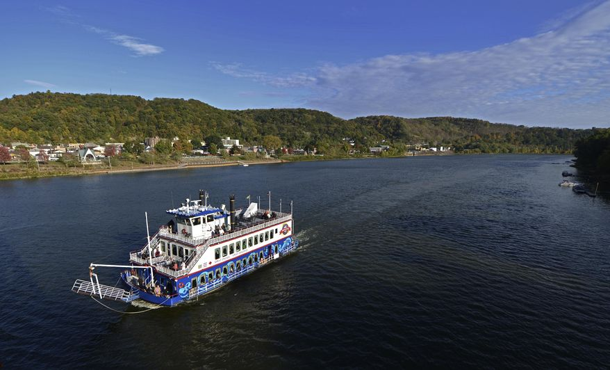 FOR RELEASE SATURDAY, MARCH 4, 2017, AT 3:01 A.M. EST.-The Gateway Clipper Princess, navigates up stream the Allegheny River, Sunday Oct. 12, 2014, in Armstrong County, passing the John Murtha Amphitheater in Kittanning's Riverfront Park. (Louis B. Ruediger /Pittsburgh Tribune-Review via AP)