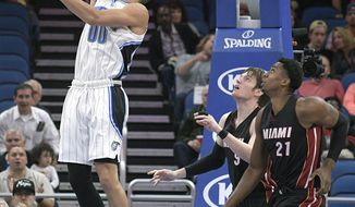 Orlando Magic forward Aaron Gordon (00) scores in front of Miami Heat forward Luke Babbitt (5) and center Hassan Whiteside (21) during the first half of an NBA basketball game, Friday, March 3, 2017, in Orlando, Fla. (AP Photo/Phelan M. Ebenhack)