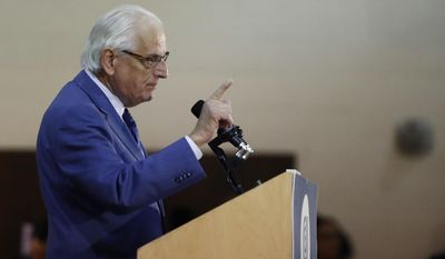 U.S. Rep. Bill Pascrell, D-N.J., delivers remarks at the Kaplen Jewish Community Center on the Palisades during a rally against recent bomb threats made to jewish centers, Friday, March 3, 2017, in Tenafly, N.J. (AP Photo/Julio Cortez)