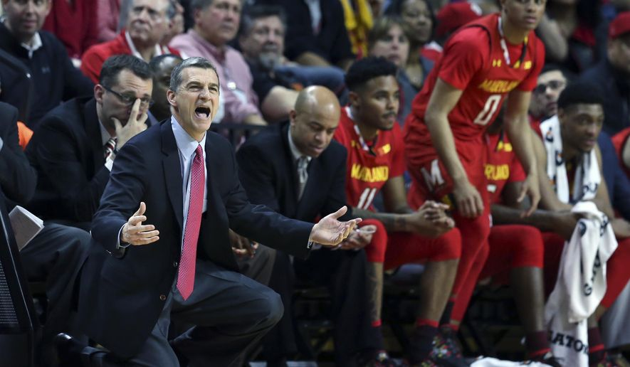 Maryland coach Mark Turgeon reacts to a call during the second half of the team's NCAA college basketball game against Rutgers on Tuesday, Feb. 28, 2017, in Piscataway, N.J. Maryland won 79-59. (AP Photo/Mel Evans)