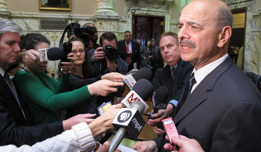 Del. Dan Morhaim talks to reporters after the Maryland House of Delegates voted 138-0 to reprimand him on Friday, March 3, 2017. The legislature's ethics panel found that he used his position as a legislator to advocate for changes to medical marijuana regulations and procedures for awarding licenses that could have resulted in the gain of a company that employed him. (AP Photo/Brian Witte)