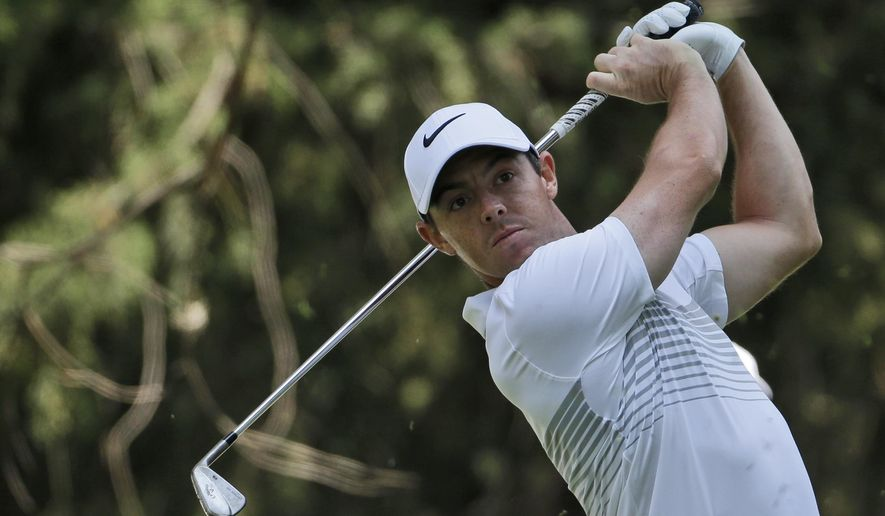 Rory McIlroy, of Northern Ireland, tees off on the 16th hole in round one of the Mexico Championship at Chapultepec Golf Club in Mexico City, Thursday, March 2, 2017. All but one of the world's top 50 golfers are contesting the World Golf Championship PGA event, which this year relocated to Mexico City from the Trump National Doral Resort in Florida. (AP Photo/Rebecca Blackwell)