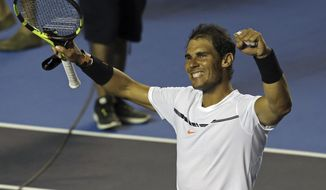 Spain's Rafael Nadal celebrates after defeating Croatia's Marini Cilic during a semifinal match of the Mexican Tennis Open in Acapulco, Mexico, Friday, March 3, 2017. (AP Photo/Enric Marti)