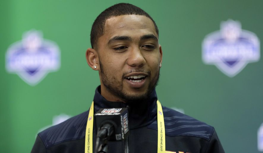 San Diego State running back Donnel Pumphrey speaks during a news conference at the NFL football scouting combine Thursday, March 2, 2017, in Indianapolis. (AP Photo/David J. Phillip)