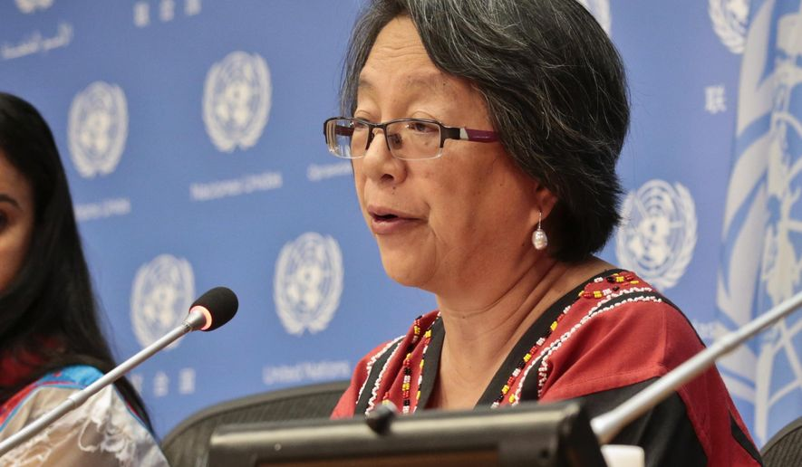 FILE - In this May 17, 2016, file photo, Victoria Tauli-Corpuz, U.N. Special Rapporteur on the Rights of Indigenous Peoples, speaks at a news conference at U.N. headquarters. Tauli-Corpuz, who recently visited North Dakota in the wake of months of protests over the Dakota Access pipeline, says the concerns and rights of Native Americans haven't been adequately addressed. (AP Photo/Bebeto Matthews, File)