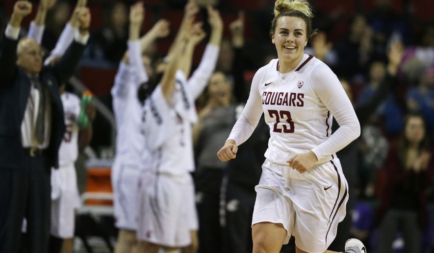 Washington State guard Alexys Swedlund (23) celebrates a play late in the second half of the team's NCAA college basketball game against Colorado in the Pac-12 tournament, Thursday, March 2, 2017, in Seattle. Washington State won 79-78. (AP Photo/Ted S. Warren)