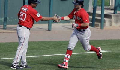 Boston Red Sox's Andrew Benintendi, right, shakes hands with third base coach Ruben Amaro Jr. after hitting a home run in the sixth inning of a spring training baseball game against the Atlanta Braves, Friday, March 3, 2017, in Kissimmee, Fla. (AP Photo/John Raoux)