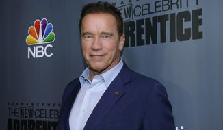 "This Dec. 9, 2016 image released by NBC shows Arnold Schwarzenegger, the new boss of ""The New Celebrity Apprentice,"" at a press junket in Universal City, Calif.  Schwarzenegger said Friday that he's through with ""The New Celebrity Apprentice,"" and he's blaming President Donald Trump for the television reality show's recent poor performance. The former California governor said he wouldn't mind working with NBC and producer Mark Burnett again ""on a show that doesn't have this baggage."" (Paul Drinkwater/NBC via AP)"