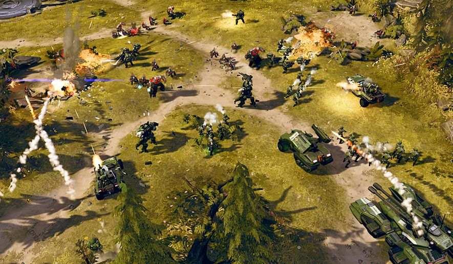 The United Nations Space Command battles the Banished in the real time strategy video game Halo Wars 2.