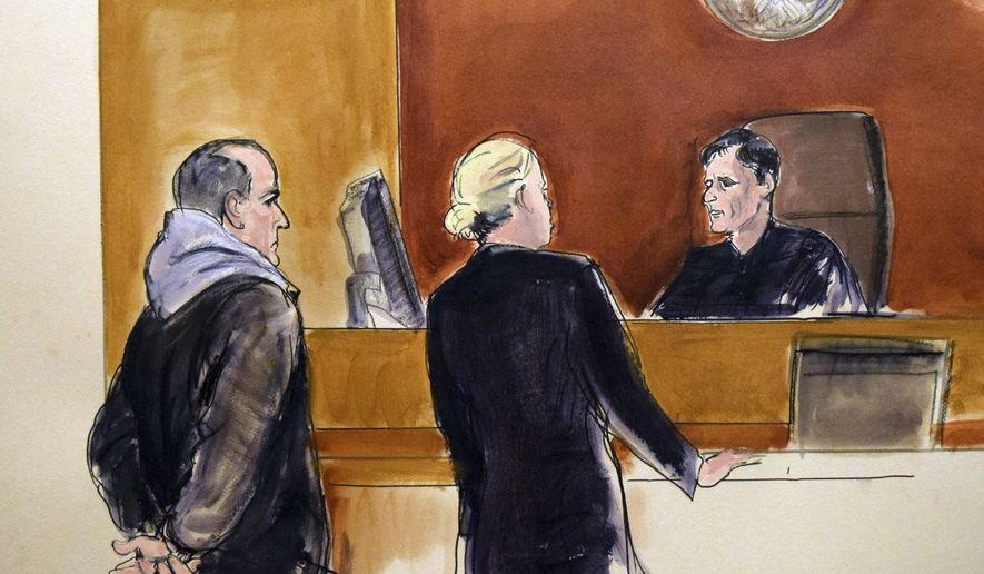 In this courtroom drawing, Elvis Redzepagic, left, appears before Magistrate Judge Robert Levy, right, Saturday, March 4, 2017 in New York, during his arraignment on charges that he attempted to provide material support to a foreign terrorist organization. Prosecutors say the New York man repeatedly traveled to the Middle East to try to join the Islamic State or al-Nusra Front extremist groups and told authorities he'd been prepared to sacrifice himself for jihad. In the center is federal defender Mildred Whalen. (Elizabeth Williams via AP)