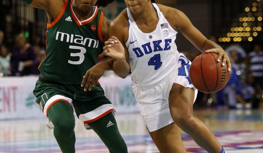 Duke's Lexie Brown, right, drives the ball by Miami's Jessica Thomas, left, during the first half of an NCAA college basketball game in the Atlantic Coast Conference tournament at the HTC Center in Conway, S.C., Saturday, March 4, 2017. (AP Photo/Mic Smith)