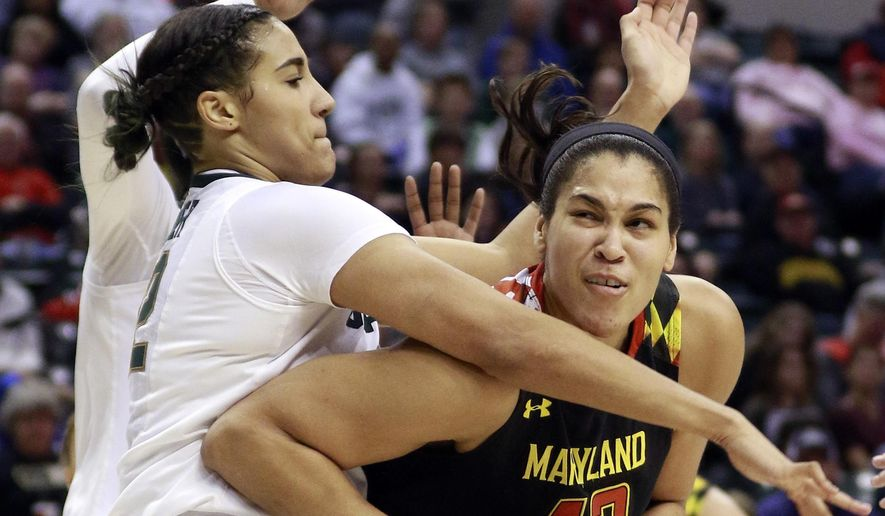 Maryland center Brionna Jones, right, moves to the basket defended by Michigan State forward Taya Reimer during the first half of an NCAA college basketball game in the semifinals of the Big 10 conference tournament, Friday, March 4, 2017, in Indianapolis. (AP Photo/R Brent Smith)