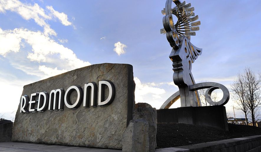 This Feb. 21, 2017, photo shows the customized font found on the city's new city hall, Flag City memorial, in Redmond, Ore. (Ryan Brennecke/The Bulletin via AP)