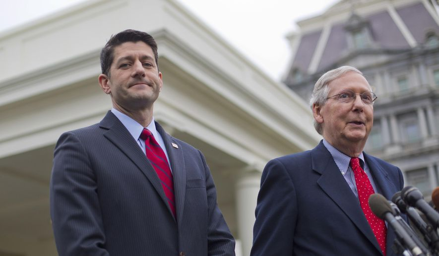 In this Feb. 27, 2017, file photo, House Speaker Paul Ryan of Wis. listens at left as Senate Majority Leader Mitch McConnell of Ky. speaks to reporters outside the White House in Washington, after meeting with President Donald Trump. (AP Photo/Pablo Martinez Monsivais, File)