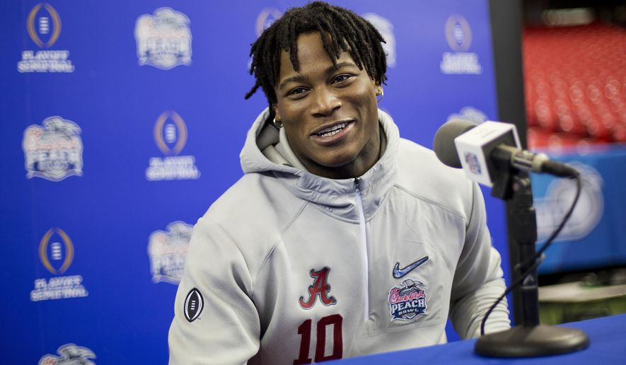 FILE - In this Dec. 20, 2016 file photo, Alabama's Reuben Foster answers a question during media day in Atlanta.  A person with knowledge of the situation tells The Associated Press that linebacker Reuben Foster, a potential top-10 pick, has been sent home from the NFL's annual combine.The person spoke on condition of anonymity because the NFL wasn't commenting on the situation.  (AP Photo/David Goldman, File)